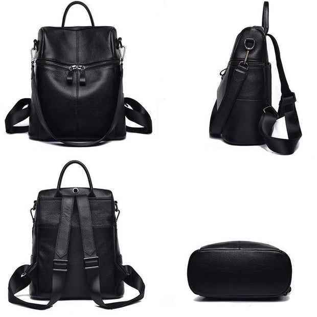 Dazzler Black Leather Backpack-Sevenedge Perfect Gifts