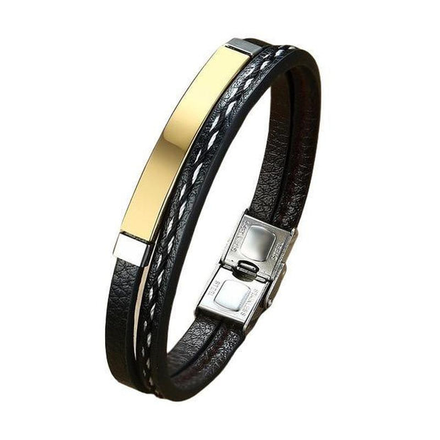 Double-Layer Stacked Metal And Genuine Leather Bracelet-Sevenedge Perfect Gifts