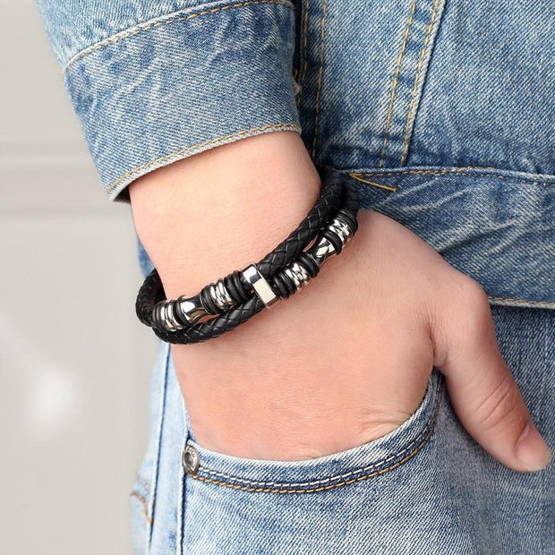 Double Strand Leather Bracelet-Sevenedge Perfect Gifts