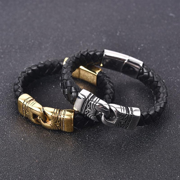 Engraved Metal And Braided Leather Bracelet-Sevenedge Perfect Gifts