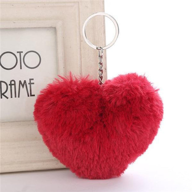 Fluffy Pompom Heart Keychain-Sevenedge Perfect Gifts
