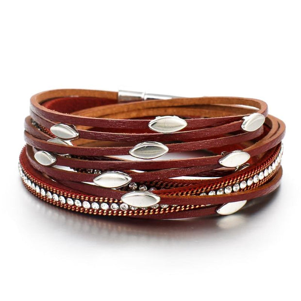 Leaf Charm Leather Bracelet-Sevenedge Perfect Gifts