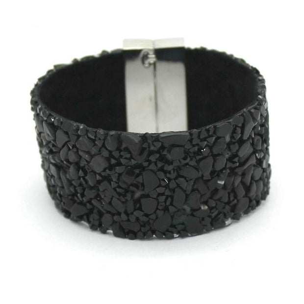 Leather And Stone Cuff Bracelet For Women-Sevenedge Perfect Gifts