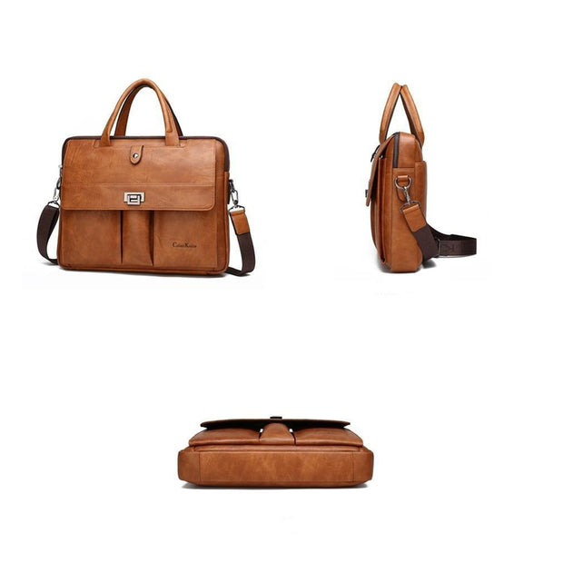 Leather Shoulder Laptop Bag For Men-Sevenedge Perfect Gifts