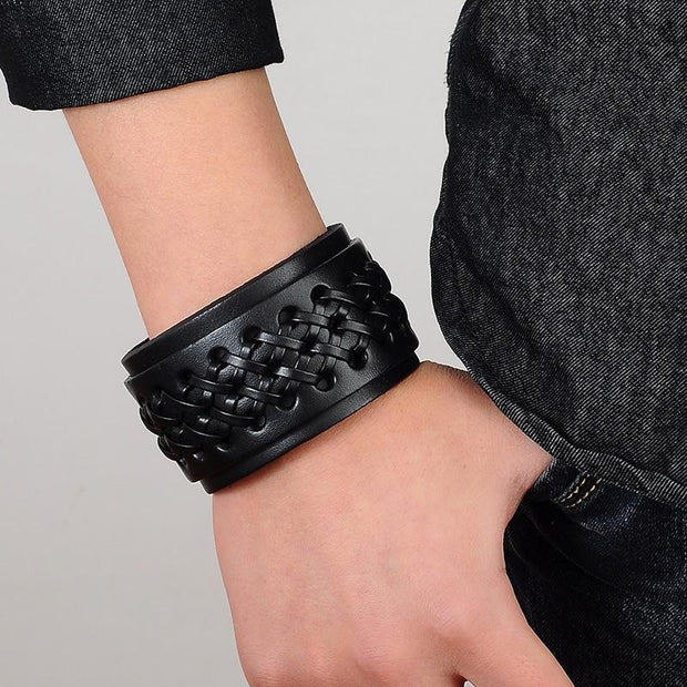 Leather Wide Cuff For Men-Sevenedge Perfect Gifts