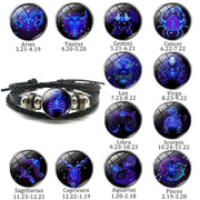 Luminous Zodiac Leather Bracelet-Sevenedge Perfect Gifts