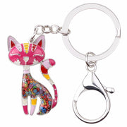 Multi-Hued Metal Enamel Kitten Key Chain-Sevenedge Perfect Gifts