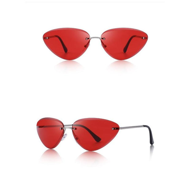 Narrow Dainty Cat-Eye Rimless Sunglasses-Sevenedge Perfect Gifts