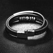 Stainless Steel And Leather 3-Strand Bracelet-Sevenedge Perfect Gifts
