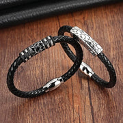 Stainless Steel Genuine Leather Bracelet-Sevenedge Perfect Gifts