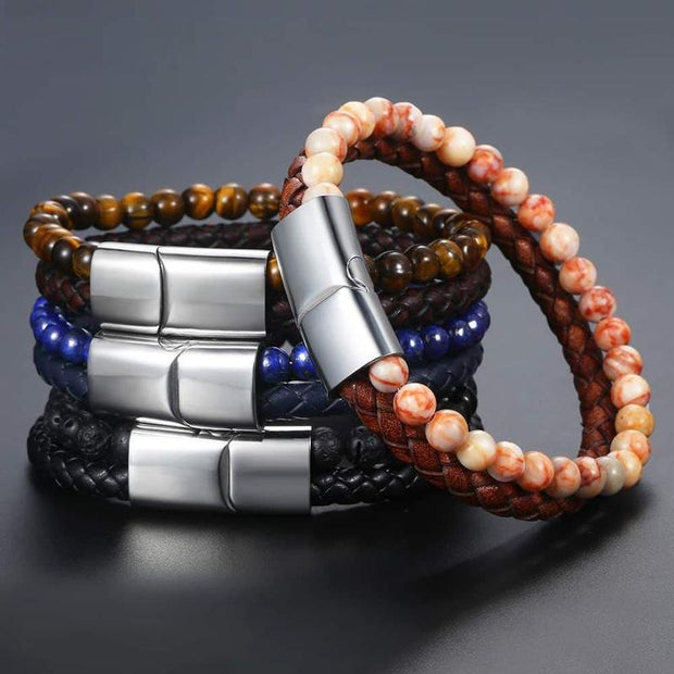 Stone Bead And Leather Bracelet-Sevenedge Perfect Gifts