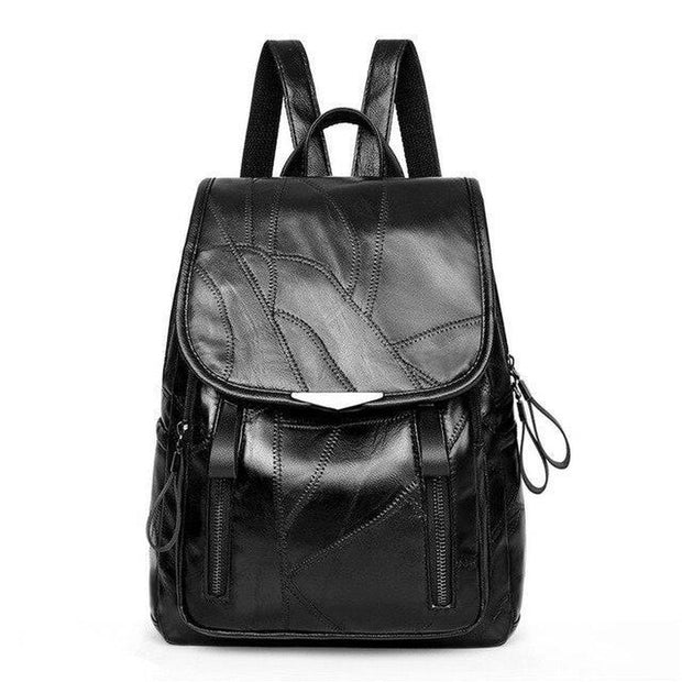 Strappy Black Leather Backpack-Sevenedge Perfect Gifts