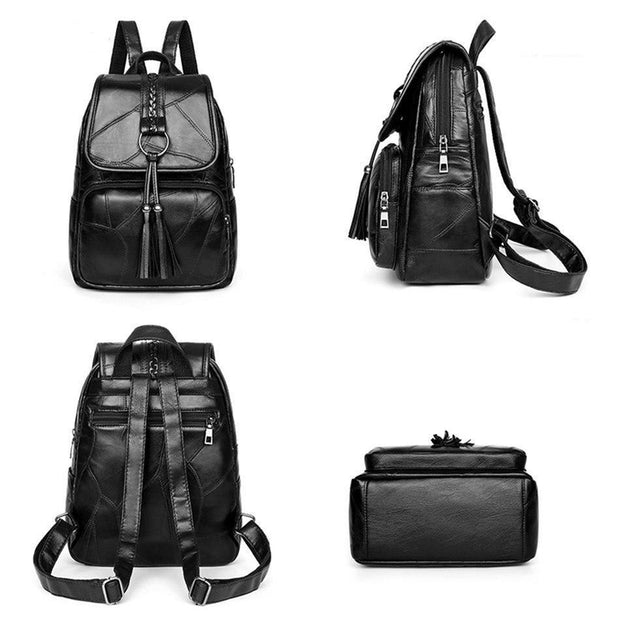 Street Cred Black Leather Backpack-Sevenedge Perfect Gifts
