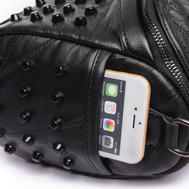 Studded Leather Messenger Bag-Sevenedge Perfect Gifts