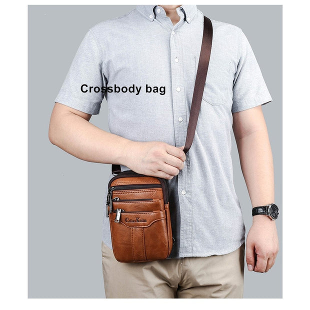Two In One Bag -Single Shoulder Sling Bag Or Waist Satchel For Men-Sevenedge Perfect Gifts