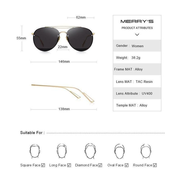 Women's Rimless Oval Sunglasses-Sevenedge Perfect Gifts