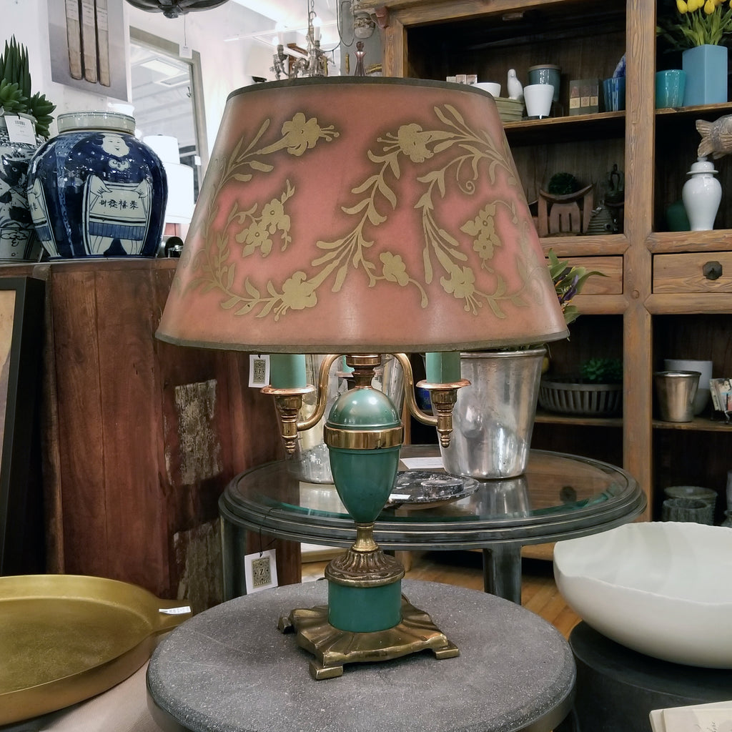 Vintage Green Tole 3-Arm Table Lamp, ca. 1940