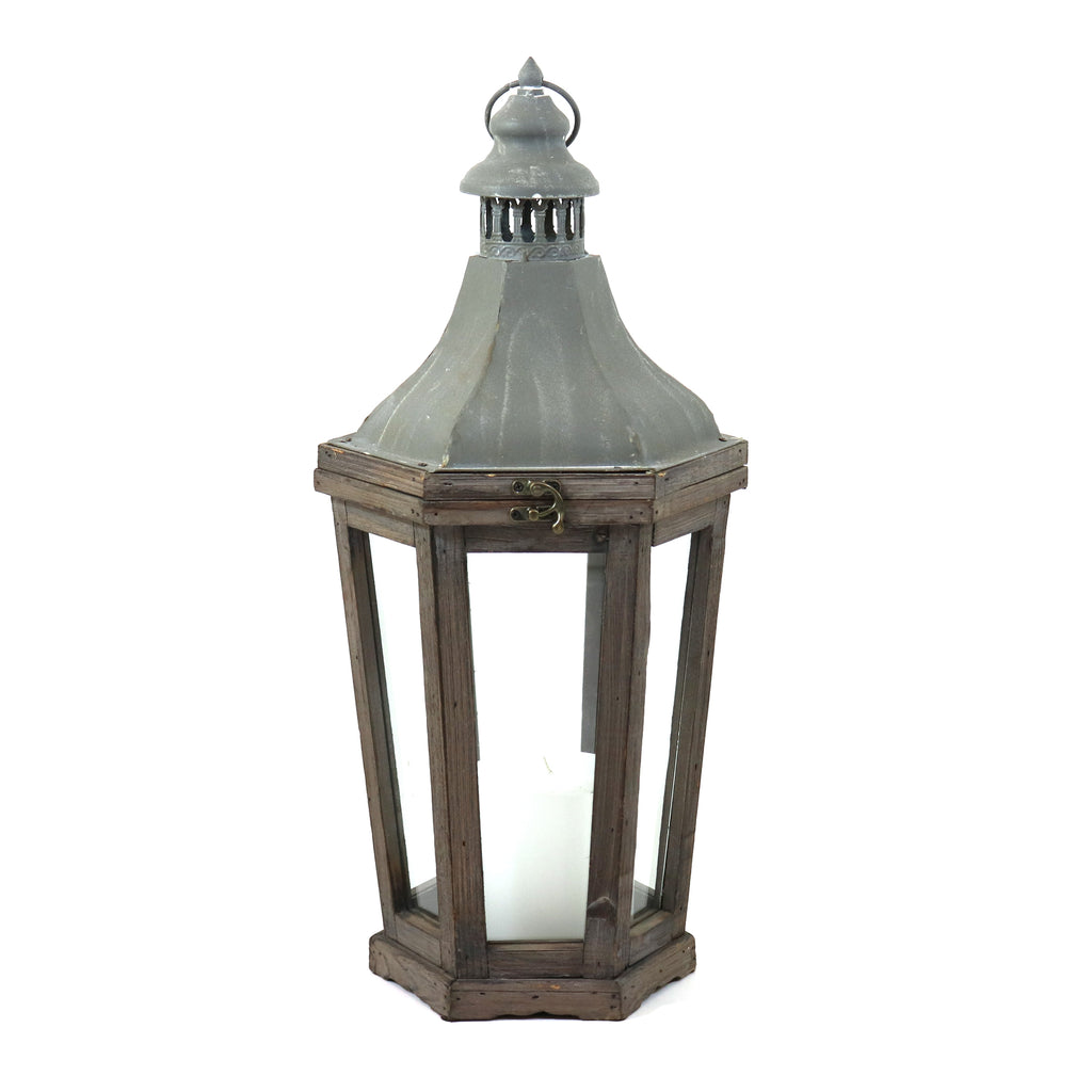Wood and Galvanized Metal Lantern