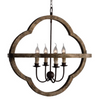 Wood and Metal 4-Candle Chandelier