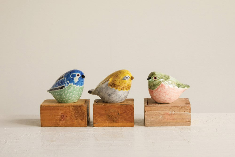 Glazed Pottery Hand Painted Bird