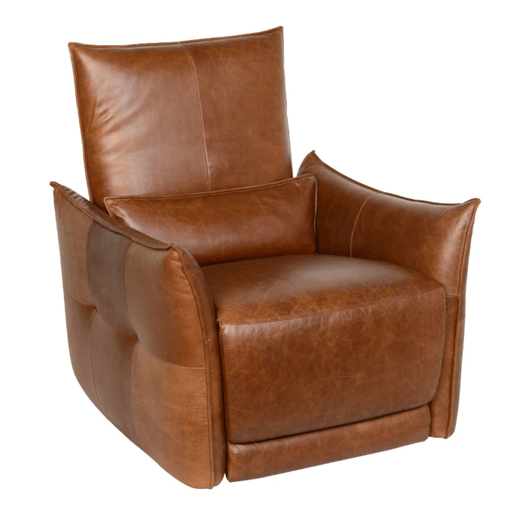 Power Recliner with Adjustable Headrest, Top Grain Leather