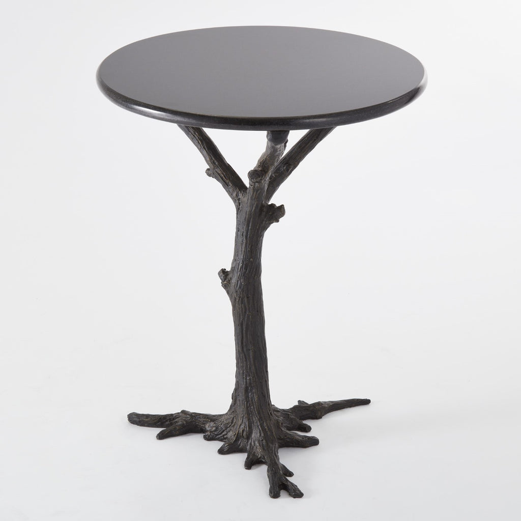 Faux Bois Iron Side Table with Black Granite Top
