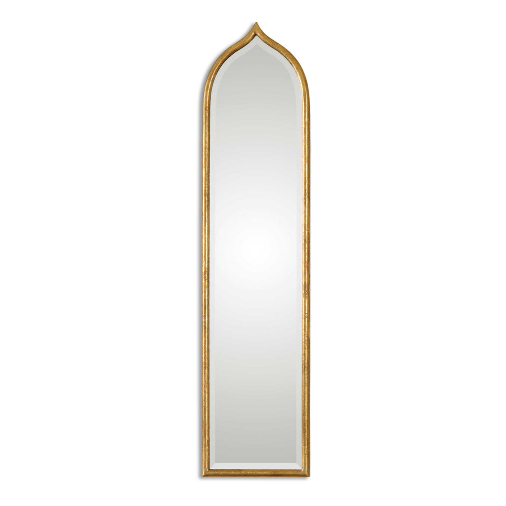 Narrow Gold Framed Arched Mirror