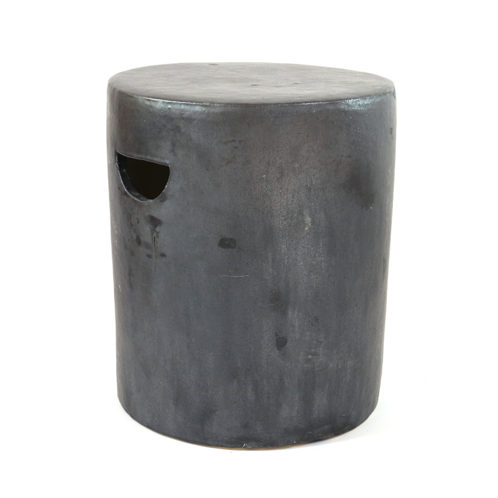 Fired Clay Drum Garden Stool, Matte Black