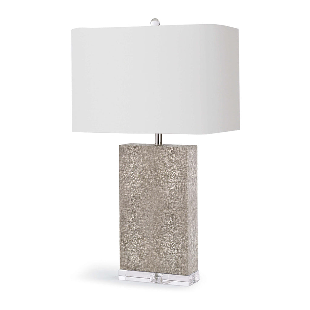 Faux Shagreen Gray Lamp with Acrylic Base