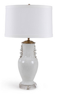 Rustic White Lamp with Lucite Base and Drum Shade