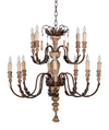 Rosetta Two-Tiered, 12-Candle Chandelier, 60W