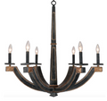 Wood 6-Arm Chandelier, Aged Black & Gold
