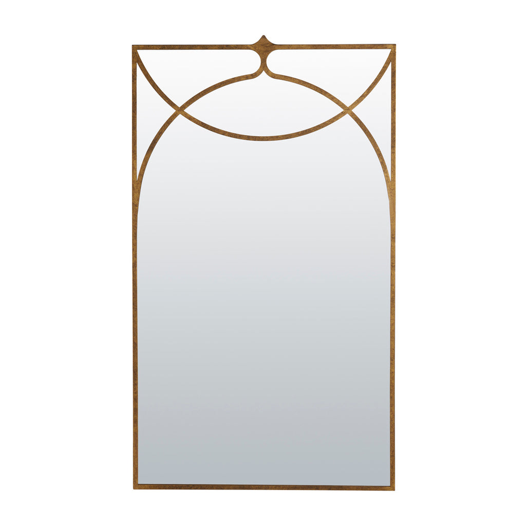 Rectangular Mirror with Gold-Finished Metal Detail