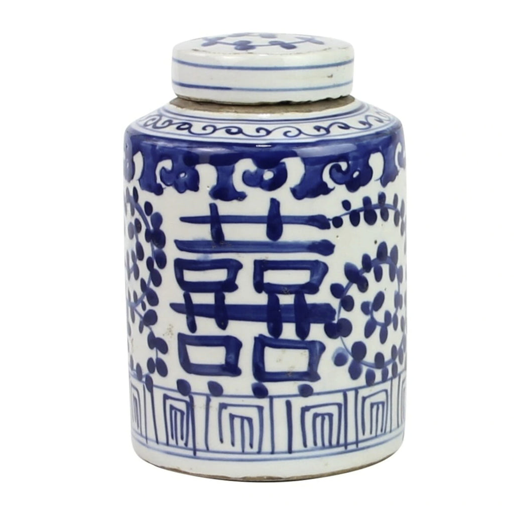 Blue & White Tea Jar, Double Happiness
