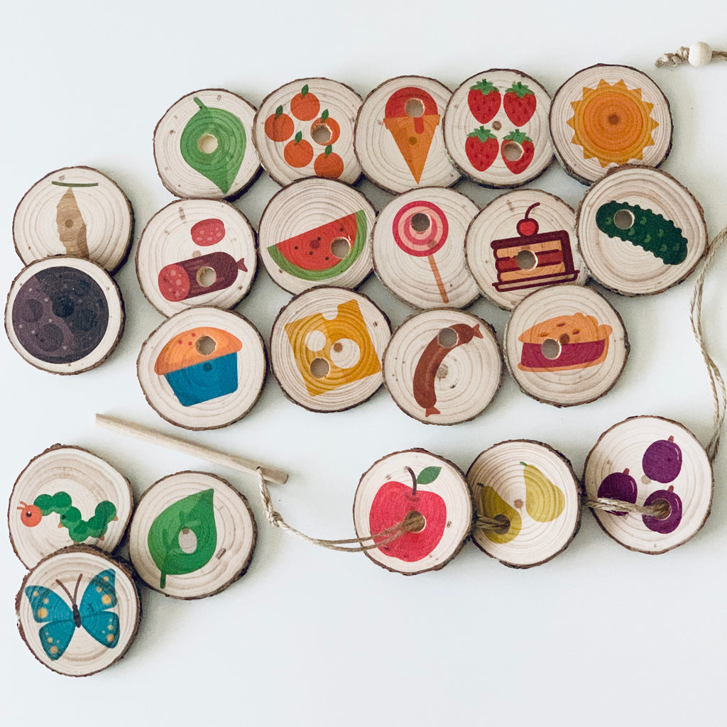 Hungry Caterpillar Threading Tree Slices Story Teller Set
