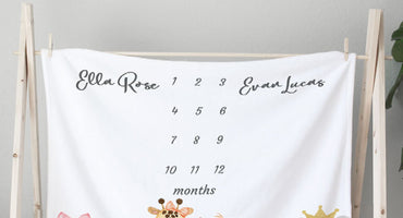The best personalized milestone blankets for twins