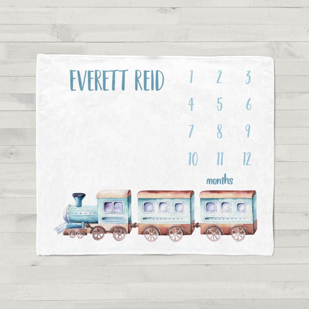 Choo Choo Train Personalized Milestone Baby Blanket