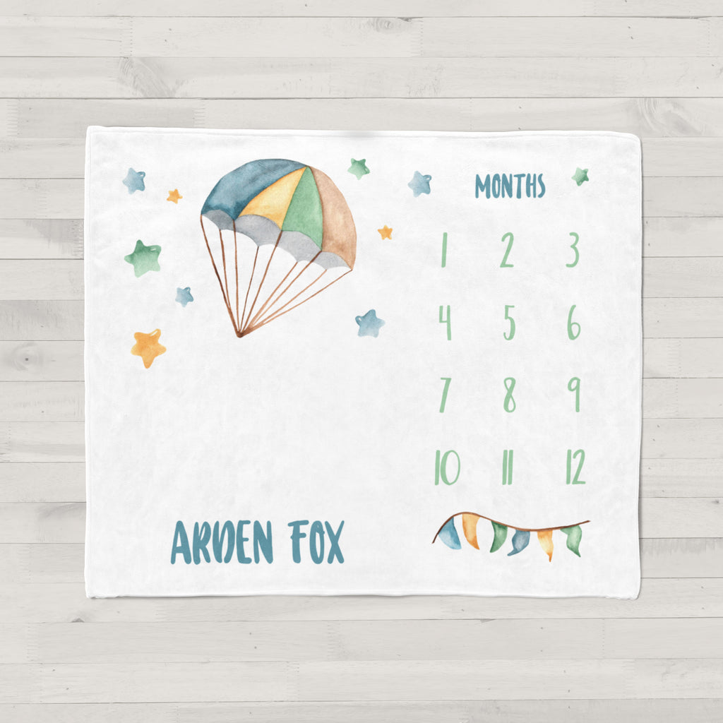 Up & Away Hot Air Balloon Personalized Milestone Baby Blanket