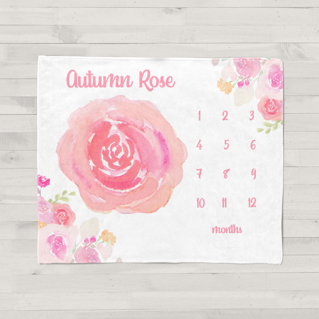 Pink Rose Personalized Milestone Baby Blanket
