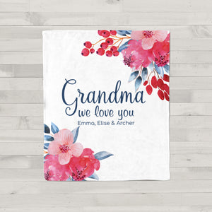 Beautiful Blooms Personalized Adult Blanket Grandma Gift