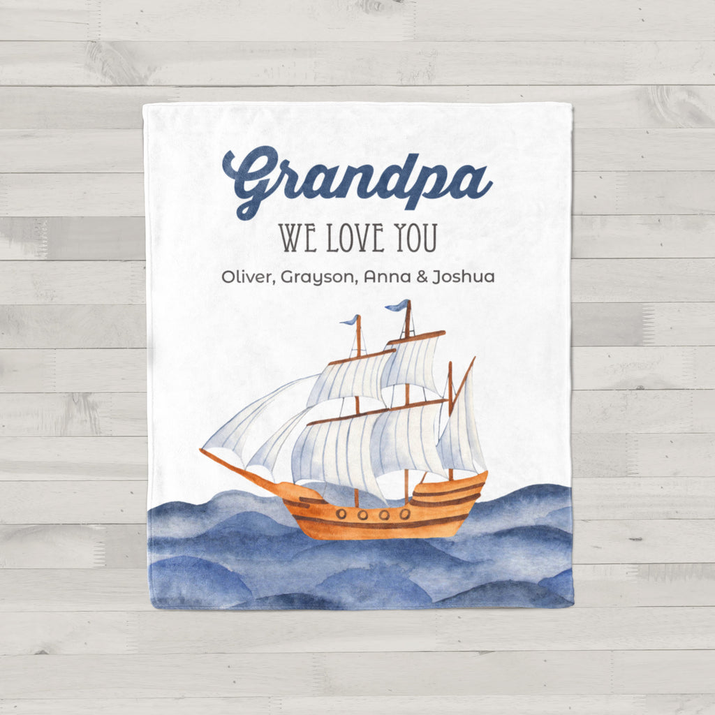 Ocean Blue Personalized Adult Blanket Grandpa Gift