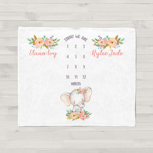 Sweet Floral Elephant Milestone Baby Blanket for Twins