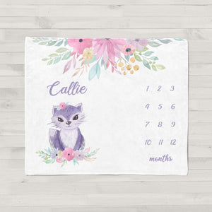 Callie Cat Milestone Personalized Baby Blanket