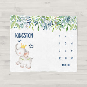Kingston Elephant Personalized Milestone Baby Blanket