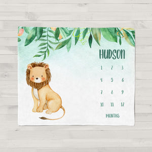 Jungle Lion Milestone Personalized Baby Blanket