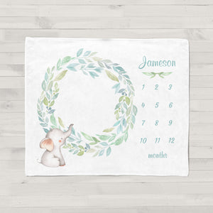 Jameson Elephant Wreath Personalized Milestone Baby Blanket