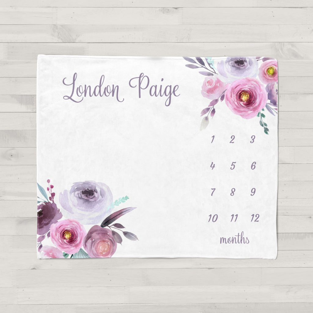 London Purple Floral Personalized Milestone Baby Blanket