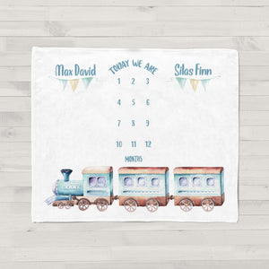 Choo Choo Train Milestone Baby Blanket for Twins