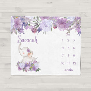Savannah Purple Floral Elephant Personalized Milestone Baby Blanket