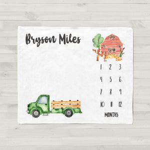 Little Green Truck Personalized Milestone Baby Blanket